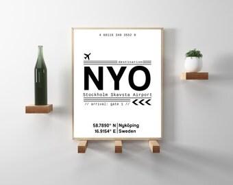NYO Stockholm Skavsta Airport Call Letters. Minimal, modern, scandinavian, hygge decor. Travel, wanderlust wall art print. Instant Download.