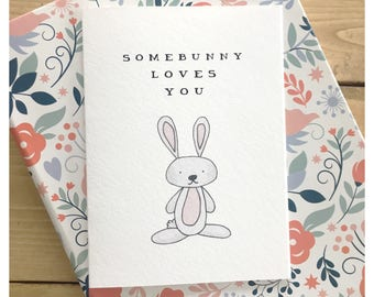 LOVE CARD // easter card, funny easter card, pun card, baby card, woodland animal, bunny, greeting card, funny card, funny love card, punny