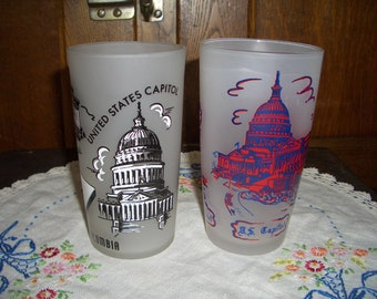 Two Vintage Frosted Souvenir Tumblers of Washington, D C  Capitol Building, Memorials...One Hazel-Atlas