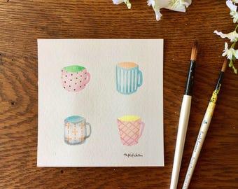 6x6 ORIGINAL watercolor/Spring Coffee Mugs