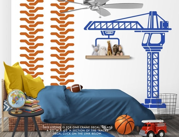 Construction crane vinyl wall decal boys bedroom wall decal for Construction themed bedroom ideas