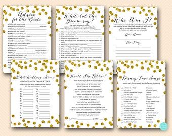Gold Bridal Shower Games Package, Instant Download, what did the groom say, Why do we do that, Bridal shower games download BS506