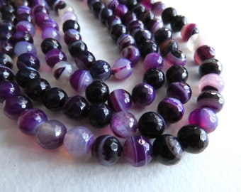 """Purple Banded Agate Faceted Round Beads. 8mm Approx. 15"""" Strand."""