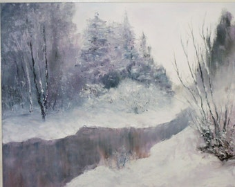 """Oil painting """"Waiting for spring"""" canvas 50 cm X 40 cm"""
