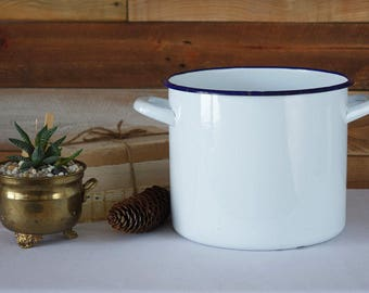 Vintage Enamel Pot - White and Blue Pot - Rustic Decor - Farmhouse Kitchen - Inside Diameter 7.6""