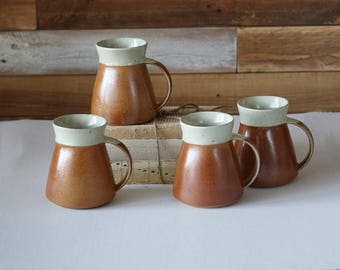 Vintage mugs - Coffee mugs - Set of 4 cups - Stoneware - Pottery - Boho decor - Sial Canada
