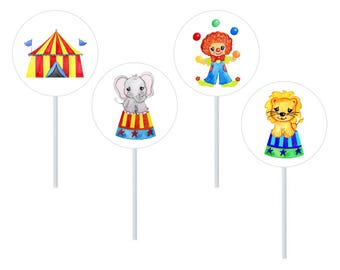 Circus Cupcake Toppers, Carnival Cupcake Topper Kit, Kids Party, 1st Birthday, Party Decor, Cake Supplies, Cake Decor, Circus Party Favours