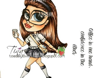 Digital Stamp, Digi stamp, Digi, Digistamp, Confidence, Coffee, School Girl, Studious, Confident Cassie Digi