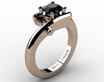 Modern French 14K Rose Gold 1.0 Ct Black Diamond Ring R1100-14KRGDBD