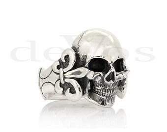 Skull Ring - Fleur de Lis Full Skull Ring