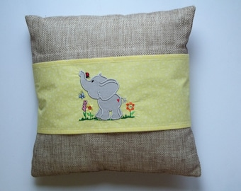 Spring Elephant - Yellow Floral Decorative Pillow Sleeve/Wrap