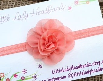Coral baby headband -  coral rose flower newborn bow infant toddler headband