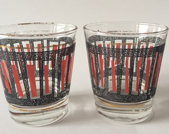 Vintage Pair Of Mid Century Cocktail Glasses, Dominion. Red, Black & Gold.
