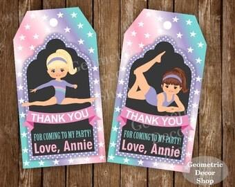 Thank you cards Gymnastic Favor tags digital gift Decoration birthday printable DIY Pink teal Purple Thank you card tag aqua Girl FTPG4
