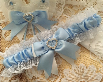 WEDDING GARTER baby blue and white satin and lace garter heart diamante bows