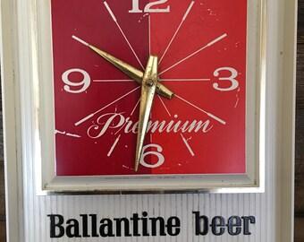 Vintage Ballantine Beer Clock, Mancave Clock, Vintage Clock, P. Ballantine & Sons, Newark, NJ 1967 Bar Clock