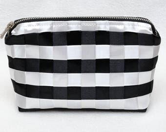 Makeup Organizer Make Up Bag Zipper Bag Makeup Case Cosmetic Pouch Black White Stripes Fabric Bags striped fabric case Girlfriend Gift ideas