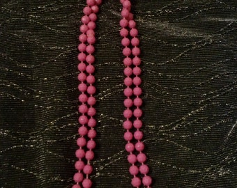 Clearance was 25 now 11. 60s/70s Raspberry Geometric Bead Necklace/Costume Jewelry (Also in Navy and Sky Blue)
