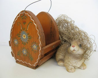 Rustic Wooden Easter Basket, Hand Painted Country Easter Decor Centerpiece