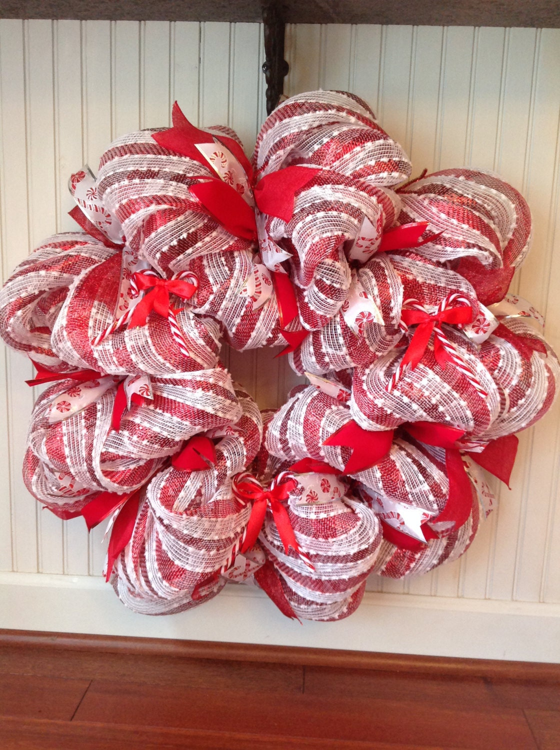 Red And White Stripe Deco Mesh Candy Cane Wreath Red And