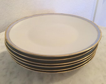 """Vintage Rosenthal From The Classic Rose Collection """"Gala Blue"""" Set Of Six (6) Dinner Plates, Blue Band. Made In Germany. Discontinued."""