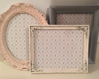 Shabby Chic Baby Girl Nursery Mini Nursery Collection , Picture Frames , Set of 3, Blush Pink, Antique White, Light Gray
