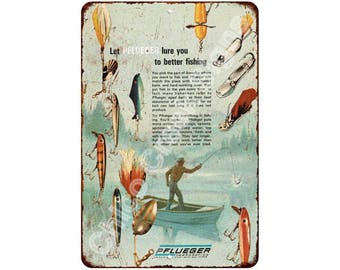 Pflueger Fishing Lures Vintage Look Reproduction 8x12 Metal Sign 8120951