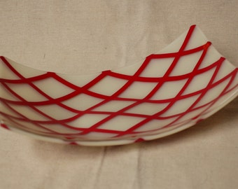 Red Striped serving bowl