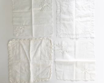 Vintage set of four hankies, white embroidered/lace edge hanky collection