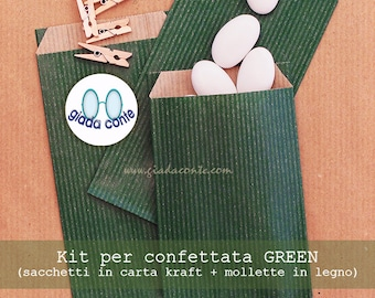 """""""CONFETTATA"""" ' Green ' BAGS kraft paper (clothespins included!)-set 25 pieces"""