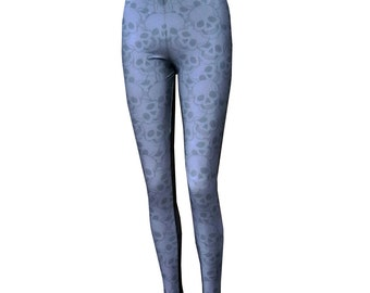 Gothic leggings grey skull