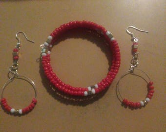 Red and gold wrap bracelet earring set