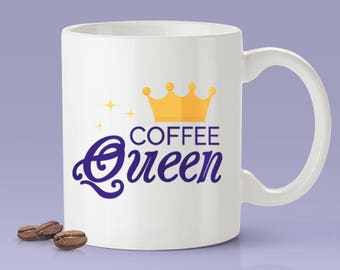 Free Worldwide Shipping - Coffee Queen Mug - [Gift Idea - Makes A Fun Present] [For Her]