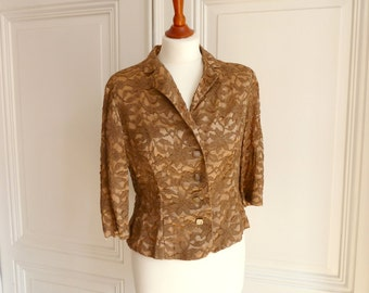 Lace Blazer, short jacket, costume jacket with collar and lace, costume jacket, vintage