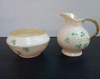 BELLEEK Shamrock Sugar Bowl & Creamer Set 2nd Green Mark (1955-1965) Handmade in Ireland