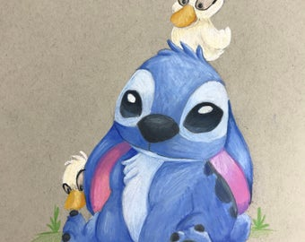 Stitch and Ugly Ducklings- Original Drawing