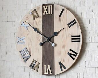 "Large wall clock, Wood wall clock, Wood clock, Wood & Glass, 19"" inch"
