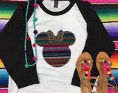 Fiesta Minnie Mouse Serape adult baseball tee - Sweet Texas Treasures - disney world disneyland shirt, Minnie Mouse tee, serape mickey