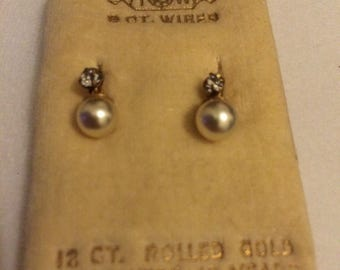 vintage 9ct wired pearl and CZ earrings
