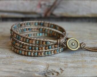 Beaded Wrap Bracelet,  Leather Wrap Bracelet, Boho Wrap Bracelet, Wrap Bracelet, Beaded Leather Wrap, Bohemian Bracelet