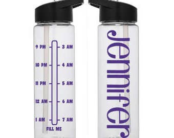 Night Shift Water Bottle with Times - Water Bottle - Personalized