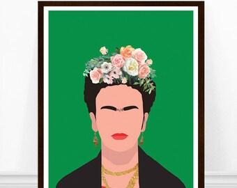 Frida Kahlo Poster, Minimalist Art Print, Feminist Print, Feminist Icon, Frida Kahlo Print