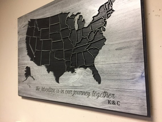 family name sign wood us map wall art carved united states. Black Bedroom Furniture Sets. Home Design Ideas
