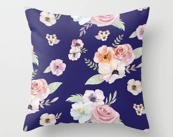 Throw Pillow - Watercolor Floral I - Navy Blue Pink - Square Cover 16x16 18x18 20x20 24x24 - Insert Optional