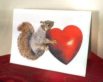 Squirrel with Big Red Heart Printable Valentine's Card, Digital Squirrel Card, Instant Download Valentine's Day Card