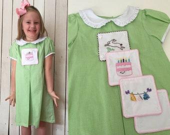 Birthday Dress, Tea Cup dress, girls smocked dresses, tab dress