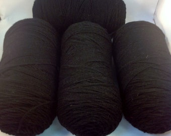 Red Heart Acrylic Yarn - 4 Skein Lot - Black