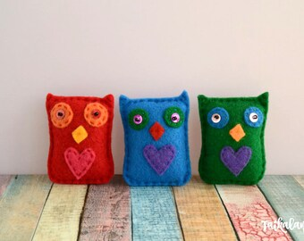 Plush Owl Brooch, Felt Owl, Cute Animal Brooch, Colorful Owl, Animal Brooches, Gift For Kids, Felt Brooch, Kids Animal Brooch, Owl Gift