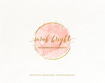 Premade Logo Design, Main Logo Round Watermark, Photography Branding, Pink and Gold, Dots, Signature Logo, Initials, Luxury, Elegant