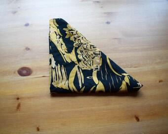 Vintage triangular black neck scarf with boating motif